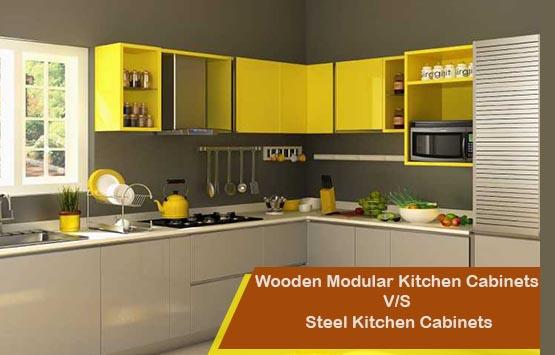 Wooden Modular Kitchen Cabinets V S Steel Kitchen Cabinets